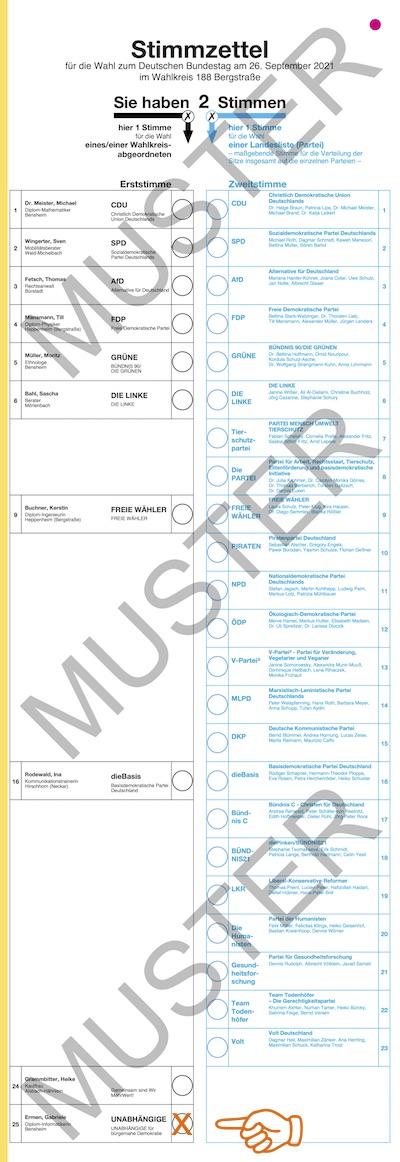 Stimmzettel Bergstraße -Gabriele Ermen wählen